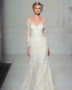 Long-Sleeve Wedding Dresses We Love | Martha Stewart Weddings - Go for an ethereal look in this Pronovias design with a floral lace overlay, from Fall 2016.