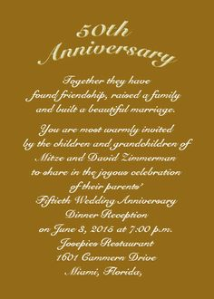anniversary invitations 50th | Use an RSVP card for date of response and ask your guest to write a ... 60th Anniversary Parties, 50th Wedding Anniversary Invitations, Dinner Party Invitations, Anniversary Dinner, Golden Anniversary, Anniversary Ideas, Invitation Cards, Gold Wedding, Rsvp