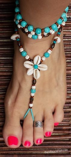 Island Style ✿ Featuring a cowrie shell flowers surrounded by turquoise and white howlite, wood and cowrie shell beads. ♡ BecsBeachFeet.com ~ Handmade ✿ Foot Jewelry •  Barefoot Sandals • Anklets • Bracelets