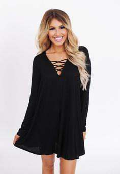 Solid Black Criss-Cross Tunic - Dottie Couture Boutique