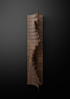 I - Typography built with wooden slats