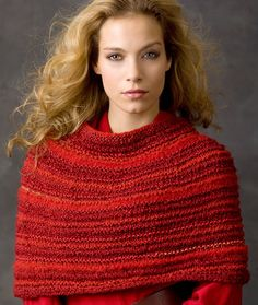 ideas crochet sweater pattern easy free red hearts for 2019 Capelet Knitting Pattern, Knitted Capelet, Knit Cowl, Baby Knitting Patterns, Easy Knitting, Loom Knitting, Knit Fashion, Minecraft Pixel Art, Pulls