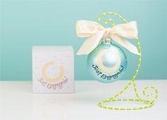 Ring Just Engaged Ornament | underthecarolinamoon.com