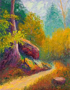 Along the Ledges Path by Nancy Gregg Oil ~ 14 x 11