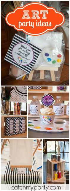 This fun art party is set up like the birthday girl's personal art studio! See more party ideas at CatchMyParty.com!