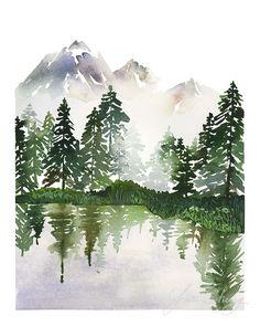 Yao Cheng Design- Evergreens on a Lake- Watercolor Art Print