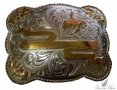 🐎 5908 Starisse Gold Square Trophy Buckle