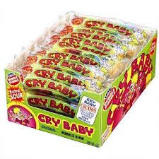 Cry Baby Sour Gumballs Gum Cry Baby sour gumballs is a extreme sour gum. Each sleeve has 5 sour gumballs that will make you pucker up. Cry baby flavors are: sour apple, sour Nostalgic Candy, Retro Candy, Sour Candy, Cry Baby, Bubble Gum, Crying, Ice Cream, Sweets, Apple