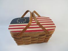 Picnic Basket, Vintage Sturdy American Flag Red White Blue 13 Colonies Stars and Stripes Memorial Day Patriotic 4th of July, Wood Splits by HobbitHouse on Etsy