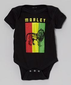 Another great find on #zulily! Black Bob Marley Lion Flag Bodysuit - Infant by Zion Rootswear #zulilyfinds