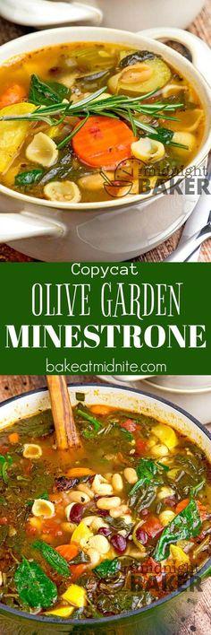 Copycat Olive Garden Minestrone - The Midnight Baker Great Vegetarian Meals, Vegetarian Recipes, Veggie Meals, Diet Soup Recipes, Cooking Recipes, Chili Recipes, Copycat Recipes, Cooking Ideas, Curry
