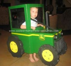 Homemade John Deere Tractor Halloween Costume: After seeing all of the wonderful costumes on this web site, it inspired my husband to create a homemade tractor.  It took my husband about 15 hours to