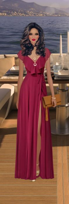 I love the style but not the slit. Covet Fashion Games, Diva Fashion, Fashion Outfits, Womens Fashion, December Outfits, Reception Gown, Elegant Dresses For Women, Evening Dresses, Formal Dresses