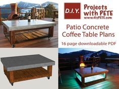 """Plans currently pay as you'd like. To get the plans for free, simply enter a """" 0 """" in the box. You can enter any other number if you'd like to donate to help support more free videos, plans, and content on DIYPETE.com. Looking to class up your patio with a beautiful, functional, and bomb proof concrete coffee table? If so, you'll want to invest in plans that will help you accomplish this product efficiently and with the best results. The 16 page downloadable PDF plans will be emailed to you…"""