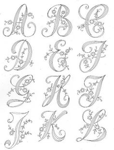 Resultado de imagen de patterns for piping royal icing Embroidery Alphabet, Embroidery Monogram, Hand Embroidery Stitches, Embroidery Techniques, Ribbon Embroidery, Machine Embroidery, Embroidery Designs, Calligraphy Letters Alphabet, Hand Lettering Alphabet