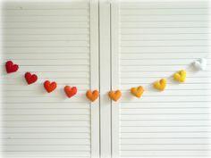 Summer Sunset heart banner/ garland/ bunting - Felt hearts in red, orange, yellow and white - children decor. $26.00, via Etsy.