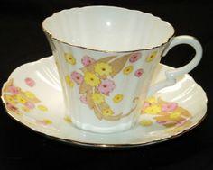 ROYAL ALBERT TEXTURE ART DECO RHODIAN PINK YELLOW BROWN TEA CUP AND SAUCER