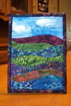 Landscape fabric postcard - the batik fabrics are very effective in landscapes.