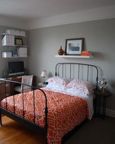love the shelves and the bedding