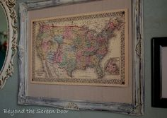 framing idea @ My Vintage Map Project | Beyond the Screen Door