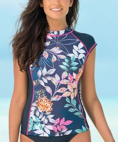 e9608ccd9c2e9 Look what I found on #zulily! Navy Jardin Short-Sleeve Rashguard - Plus