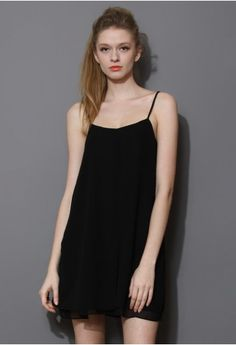 Cooling Black Chiffon Slip Dress