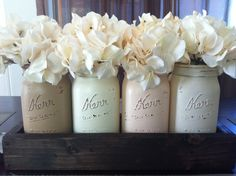 Rustic Mason Jar and wood box table Centerpiece wedding shabby chic distressed vase