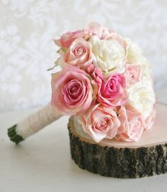 Silk Bride Bouquet Roses Lace Shabby Chic Wedding Arrangement by braggingbags on etsy