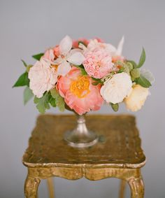 pink flower arrangement with roses and peonies.