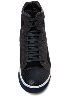 Lanvin /   High Top Cotton Embossed Sneaker in Black