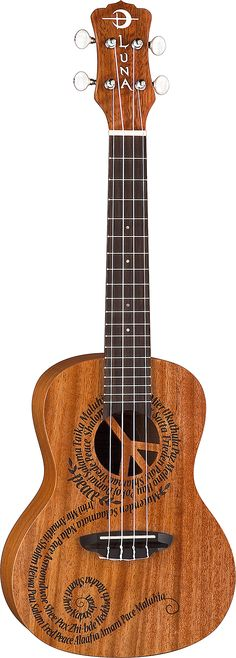 """Peace Uke - laser etched words for """"Peace"""" in 21 different languages Laser etched  21"""" Concert Top: Select Mahogany Back/Sides: Mahogany Neck: Nato/ Mahogany Fretboard/Bridge: Rosewood Open Style Tuners Aquila Strings Preamp: none Scale:15"""" Nut: 1 5⁄16"""" Finish: Satin 24"""" x 8 1⁄8"""" x 2 3⁄4"""" Gig bag included"""