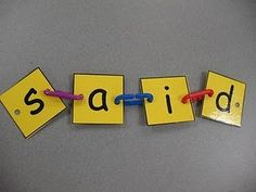 link it, write it - kindergarten sight word practice - Could punch holes & lace them on a piece of yarn.