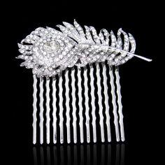 #Swarovski® #Austrian #Crystal #Rhinestone #PeacockFeather #haircomb #hairaccessories #bridal #wedding #ItsANiceDayForAWhiteWedding #GlitzGlitterandGlam #inspiration - 151431774 $17.99 by #Voguejewelry4u via #Etsy