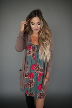 Brown Pocket Cardigan - Dottie Couture Boutique      DRESS