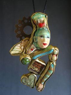 Jewelry Angel face Statement pendant Original by SusanSorrentino