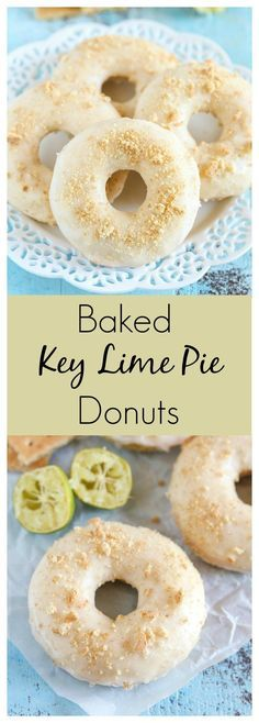 Easy Baked Key Lime Pie Donuts are topped with a key lime glaze and crushed graham crackers! These donuts are perfect for anyone who loves key lime pie! It's the perfect blend of sweet and tangy in one yummy donut! Key Lime Donut Recipe, Best Donut Recipe, Baked Donut Recipes, Baked Doughnuts, Baking Recipes, Dessert Recipes, Donuts Donuts, Mini Donuts, Glazed Donut Recipe Without Yeast
