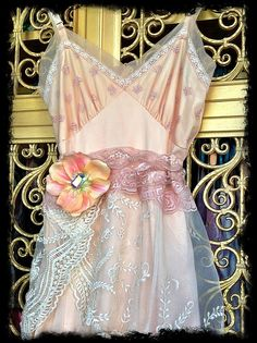 peaches & cream embroidered organza chiffon petticoat marie antoinette dress by mermaid miss k. $150.00, via Etsy.