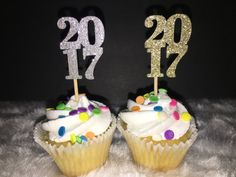 2017 Gold and Silver Glitter New Year Cupcake Topper. 30