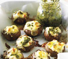 Cheesy Baked Mushrooms Pesto, basil,