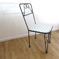 Reupholstered Wrought Iron Chair with Grey Chevron by Rekindle Home, upholstery only $60.00