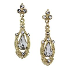 1928 Downton Abbey® Boxed Gold-Tone Crystal Accent Pave Drop Earrings (1.510 RUB) ❤ liked on Polyvore featuring jewelry, earrings, drop earrings, nickel free earrings, earrings jewelry, gold tone jewelry and pave jewelry