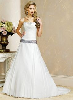 A-Line Strapless Corset Dropped Colored Waist Satin Wedding Dress