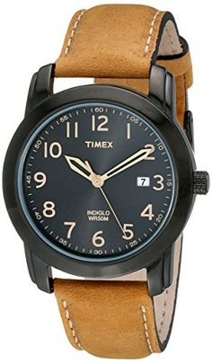 Watches: Timex Men's Elevated Classics Stainless Steel Watch with Brown Genuine Leather Strap Stylish Watches, Casual Watches, Cool Watches, Watches For Men, Wrist Watches, Brown Leather Strap Watch, Tan Leather, Oversized Watches, Timex Watches