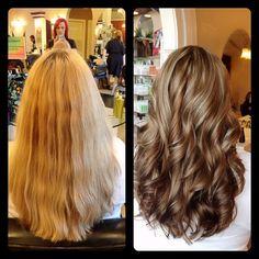 Amber Heater, Gorgeous Hair Salon, Salisbury MD (410)677-4675 Hair makeover, darker hair for fall, rich dark caramel color with blonde highlights