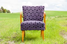 Check out our new web shop! Link in bio. Purple Interior, Norway, House Design, Chair, Knitting, Link, Handmade, Shopping, Furniture
