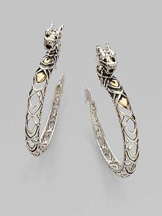 John Hardy - 18K Gold & Sterling Silver Dragon Hoop Earrings - Saks.com