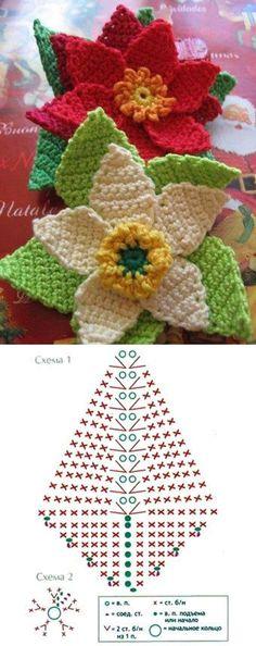 Flor de Pascua Crochet Ganchillo ☆•★Teresa Restegui http://www.pinterest.com/teretegui/★•☆