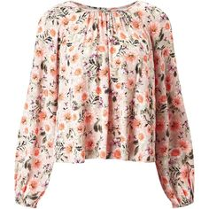 Miss Selfridge Floral Print Blouse, Multi ($20) ❤ liked on Polyvore featuring tops, blouses, pleated blouse, flower print blouse, keyhole blouse, sleeve blouse and floral print blouse