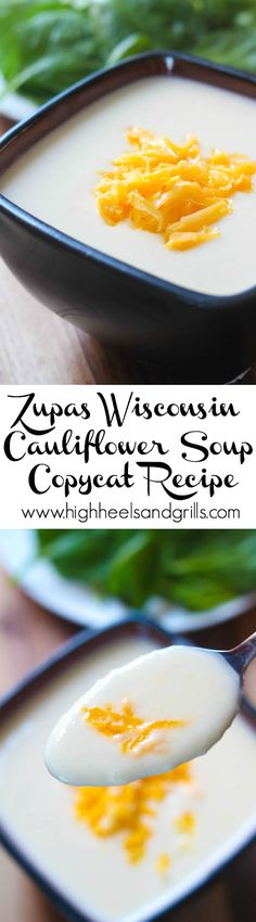 Zupas Wisconsin Cauliflower Soup Copycat. Easy dinner recipe! #ad http://www.highheelsandgrills.com/2015/03/zupas-wisconsin-cauliflower-soup-copycat.html