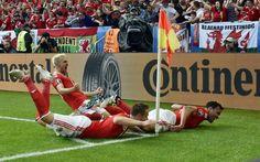 Wales goal celebration of Hal Robron Kanu